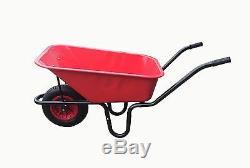 110l Garden Red Metal Pan Heavy Duty Wheelbarrow Litre 14 Red Pneumatic Wheel