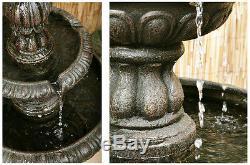 2 Tier Water Fountain Feature Cascade Classical Victorian Metallic Effect Garden