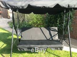 3 Seater Black Garden Swing Chair Seat Hammock Swinging Metal Fast Free Delivery