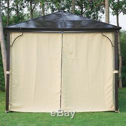 3 x 3m Garden Gazebo Top Canopy Side Curtain Sunshade Rain Shelter with Mesh Net