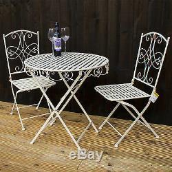 3PC Folding Bistro Set Round Metal Table & 2 Chairs Outdoor Garden Patio Set NEW