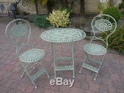 3PC Green Bistro Set Oval Folding Garden Patio Set Metal Garden Furniture Set