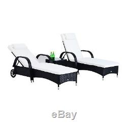3PC Rattan Sun Lounger Wicker Sofa Day Bed Recliner Furniture Garden Patio Black