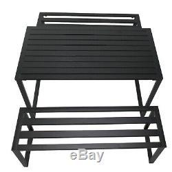 3Pcs Outdoor Dining Set Metal Beer Table Bench Patio Garden Yard Black