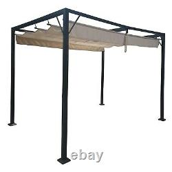 3m x 2.15m Garden Metal Gazebo Patio BBQ Party Canopy Sun Shade Retractable Roof