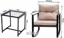 3pcs Rattan Garden Outdoor Furniture Set Rocking Chairs Table- Rocky