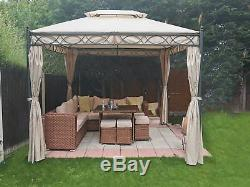 3x3M Metal Gazebo Pavilion Garden Tent Canopy Sun Shade Shelter Marquee Greenbay