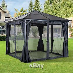 3x3m Outdoor Gazebo Patio Garden Canopy Tent with Netting & PC Board Roof Black