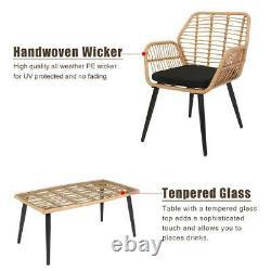 4 PCS Wicker Rattan Furniture Patio Set Chair Sofa Table Sets Garden with Cushion