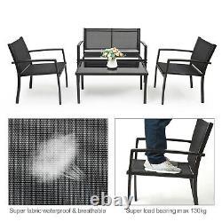 4 Piece Garden Furniture Set Sofa Chairs Rectangular Table Patio Outdoor Black