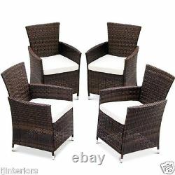 4 X Rattan Garden Furniture Dining Chairs Set Outdoor Patio Conservatory Wicker