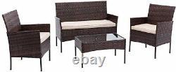 4pcs Rattan Outdoor Garden Furniture Sofa Set Table & Chairs (Roger)