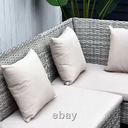 5Pcs Rattan Dining Set with Sofa, Coffee Table Footstool Garden Furniture