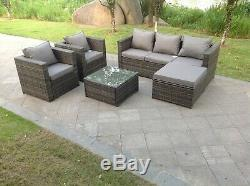 6 seater corner rattan sofa set coffee table outdoor garden furniture patio grey
