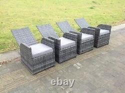 6 seater oblong reclining rattan dining set outdoor garden furniture mixed grey
