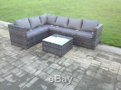 6 seater rattan corner sofa set table outdoor garden furniture patio grey