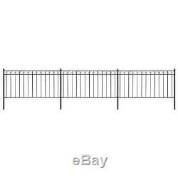 6 x 1.3 m Fence Panels with Posts Steel Garden Barrier Edging Border Black