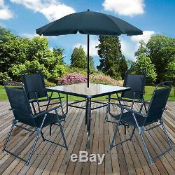 6PC Garden Patio Furniture Set Outdoor Black 4 Seater Large Square Table Parasol