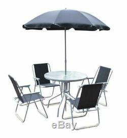 6pce METAL TABLE CHAIRS & PARASOL BISTRO GARDEN SET (UK MAINLAND ONLY)