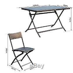 7 Pieces Dining Set Rattan Furniture Foldable Patio Steel Brown Garden