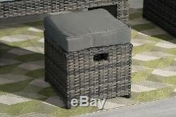 7 Seater Rattan Garden Furniture Set Sofa Chairs Table Conservatory Outdoor Grey