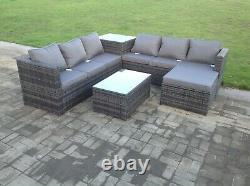 7 seater grey rattan corner sofa table outdoor garden furniture set patio stools