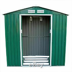 7 x 4.2FT GREEN METAL GARDEN SHED STEEL PANEL OUTDOOR TOOL STORAGE WINDOW WIDO
