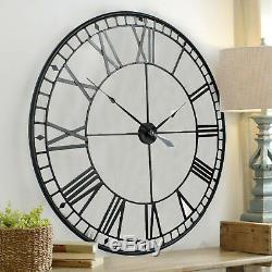 78cm Large Black Roman Numerals Metal Wall Clock Skeleton Iron Garden Outdoor