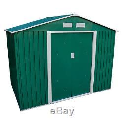 8.6 x 6FT GREEN METAL GARDEN SHED STEEL PANEL OUTDOOR TOOL STORAGE BIKE WIDO