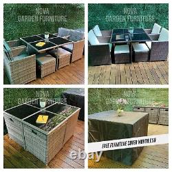 8 Seater Rattan Garden Dining Furniture Cube Set Table Sofa Chair Outdoor Patio
