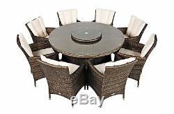 8 Seater Round Rattan Dining Set Garden Outdoor Furniture Set Savannah