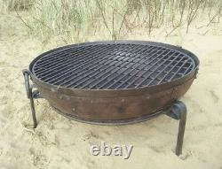 80cm Indian Fire Pit With Stand & Grill Garden Bowl Kadai Large Wrought Iron