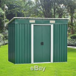 8X4FT Garden Shed Metal Pent Roof & Base Outdoor Storage Shed Bike Bicycle Tool