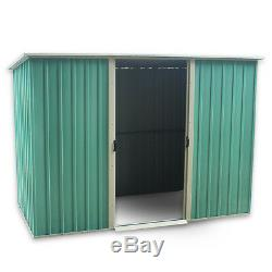 8X4ft Garden Shed Flat Roof Metal Large Outdoor Bike Tool Storage Container Shed