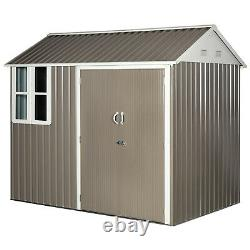 8x6 ft Corrugated Metal Garden Storage Shed with 2 Doors Window Sloped Roof Grey