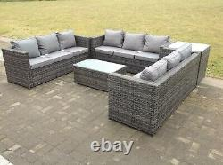 9 Seat Rattan Garden Furniture Set Patio Outdoor Table Chairs Sofa Conservatory
