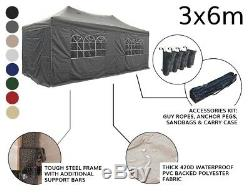 Airwave 3x6m Garden Pop Up Gazebo with Carry Bag Fully Waterproof Marquee