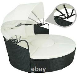 Aluminium Poly Rattan Sun Island Bed Lounger Garden Patio Terrace Balcony Black