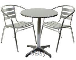 Aluminium Silver Patio Bistro Cafe Set Table Chairs Garden Outdoor Pool Silver