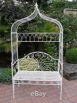 Arch Bench Shabby Chic Vintage Style white Arch Wrought Iron Garden Bench Seat