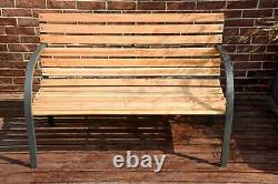 BIRCHTREE Wood Slatted Metal Frame Garden Bench 2 Seater Outdoor Patio Park Seat