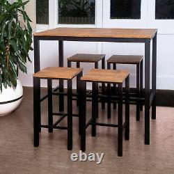 Bar Table and Stool Set For Kitchen Dining Room 4 Metal And Wood Stools High