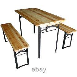 Beer Table & Bench Set Outdoor Wooden Folding Trestle Garden Furniture Steel Leg