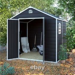 BillyOh Ashford Outdoor Plastic Garden Storage Shed Apex Grey Inc Foundation Kit