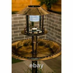Bird Hotel Feeder & Bath With Solar Light Garden Ornamental Birds Table Station