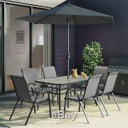 Black & Grey Metal 6 Seater Garden Furniture Set Parasol Included FTR008
