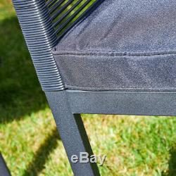 Black Metal Frame Outdoor Rope Wicker Sofa Chairs Coffee Table Garden Patio Set