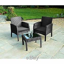 Black Rattan Armchair Bistro Set 2 Chairs & Table Garden Furniture Outdoor Set