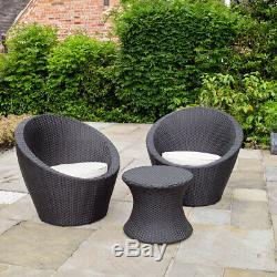Black Rattan Effect Table &2 Egg Chairs Outdoor Garden Furniture Bistro Set Wido