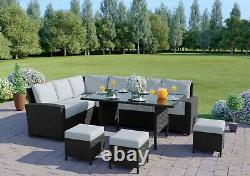 Black Rattan Garden Furniture 9 Seater Sofa Set Dining Table Stools Free Cover